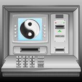 Jing balance icon on cash machine blue screen vector — Stock Vector
