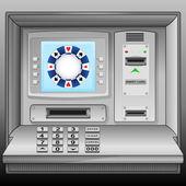 Poker chip on cash machine blue screen vector — Stock Vector