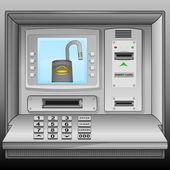 Open padlock on cash machine blue screen vector — Stock Vector