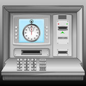 Stopwatch on cash machine blue screen vector — Stock Vector