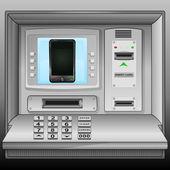 New smartphone on cash machine blue screen vector — Stock Vector
