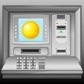 Summer sun on cash machine blue screen vector — Stock Vector