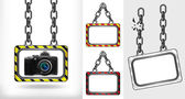 Camera on chain hanged board collection vector — Stock Vector