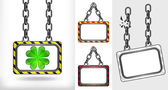 Cloverleaf happiness on chain hanged board collection vector — Stock Vector