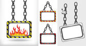 Fire flames on chain hanged board collection vector — Stock Vector