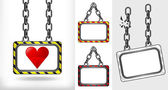 Heart icon on chain hanged board collection vector — Stock Vector