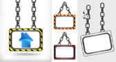 House icon on chain hanged board collection vector — Stock Vector
