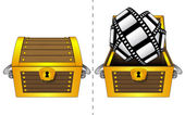 Movie tape in open wooden chest and closed one isolated vector — Stock Vector