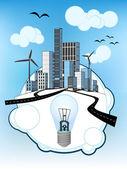 синие лампочки на белый пузырь с городской экологический вектор — Cтоковый вектор