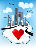 Red heart icon on white bubble with ecological cityscape vector — Stock Vector