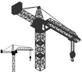 Crane vehicle structure silhouette pack vector — Stock Vector