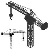 Crane vehicle structure silhouette collection vector — Stock Vector