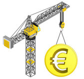Golden Euro coin hanged on isolated crane drawing vector — Stock Vector