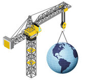 America earth world hanged on isolated crane drawing vector — Stock Vector