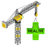 Gree health icon hanged on isolated crane drawing vector — Stock Vector