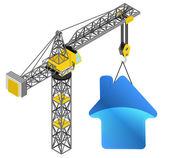 Blue house icon hanged on isolated crane drawing vector — Stock Vector