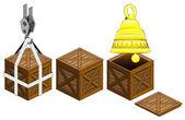 Golden bell in open wooden crate packing collection vector — Stock Vector