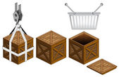 Shopping basket in open wooden crate packing collection vector — Stockvektor