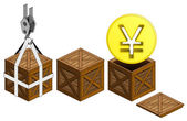 Golden Yuan coin in open wooden crate packing collection vector — Stock Vector