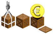 Golden Euro coin in open wooden crate packing collection vector — Stock Vector