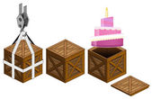 Candle cake in open wooden crate packing collection vector — Stock Vector