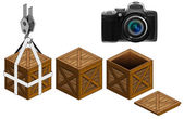 Camera in open wooden crate packing collection vector — Stock Vector