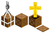 Golden cross in open wooden crate packing collection vector — Stock Vector