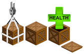 Gree health icon in open wooden crate packing collection vector — Stock Vector