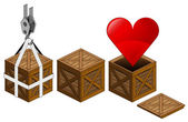Red heart icon in open wooden crate packing collection vector — Stock Vector
