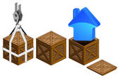 Blue house icon in open wooden crate packing collection vector — Stockvektor