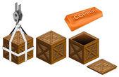 Pręt miedziany w otwartych drewnianej skrzyni pakowania wektor zbiory — Wektor stockowy
