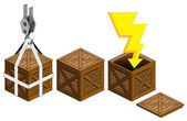Lighting icon in open wooden crate packing collection vector — Stock Vector
