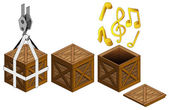 Music sound in open wooden crate packing collection vector — Stock Vector
