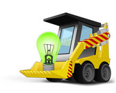 Green lightbulb on vehicle bucket transportation vector — Vecteur