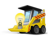 Yellow lightbulb on vehicle bucket transportation vector — Vecteur