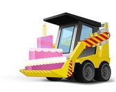 Fantazyjne ciasto na pojazd wiadro transport wektor — Wektor stockowy
