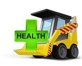 Health icon on vehicle bucket transportation vector — Vecteur