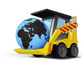 Africa world globe on vehicle bucket transportation vector — Stockvektor