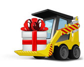 Gift box on vehicle bucket transportation vector — Vecteur