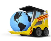 America world globe on vehicle bucket transportation vector — ストックベクタ