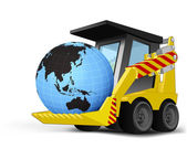 Asia world globe on vehicle bucket transportation vector — ストックベクタ
