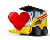 Heart icon on vehicle bucket transportation vector — Vecteur