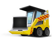 New laptop on vehicle bucket transportation vector — Stockvektor