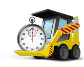 Stopwatch on vehicle bucket transportation vector — Stockvektor