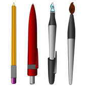 Brush pen ballpoint pencil colored collection vector — Stock Vector