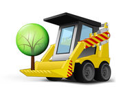 Leafy tree on vehicle bucket transportation vector — Stock Vector