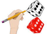 Lucky dice as isolated human hand drawing vector  — Stock Vector