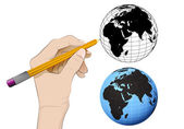 Africa world globe as isolated human hand drawing vector  — Cтоковый вектор