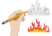 Plameny ohně jako izolované lidská ruka kreslení vektorové — Stock vektor