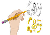 Music icon as isolated human hand drawing vector  — Stock Vector